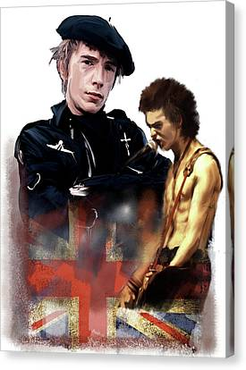 Canvas Print featuring the painting Johnny Rotten And Sid Vicious Revolution In The Head  by Iconic Images Art Gallery David Pucciarelli