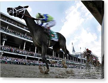 Computing Canvas Print - Always Dreaming And Johnny Velazquez, Looking Back, 143rd Kentucky Derby, 2017 by Thomas Pollart