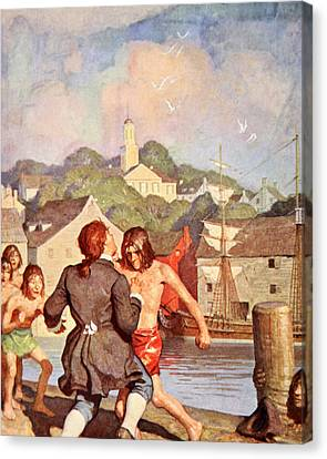 Johnny's Fight With Cherry Canvas Print by Newell Convers Wyeth