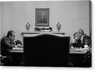 Johnson And Nixon At The White House Canvas Print