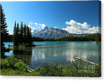 Two Jake Lake View - Banff National Park Canvas Print by Christiane Schulze Art And Photography
