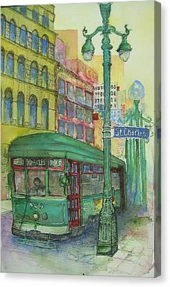 St Charles Streetcar Canvas Print by Terri Thames-Johnson