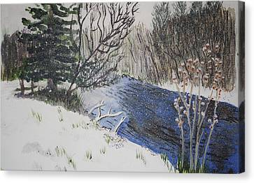 Canvas Print featuring the painting Johnson Vermont In Spring Snow Storm by Donna Walsh