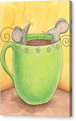 Join Me In A Cup Of Coffee Canvas Print by Christy Beckwith