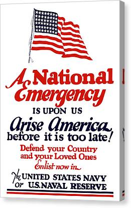 Arise America Before It Is Too Late - Join The Navy Canvas Print by War Is Hell Store