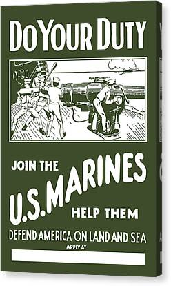 Join The Us Marines Canvas Print by War Is Hell Store