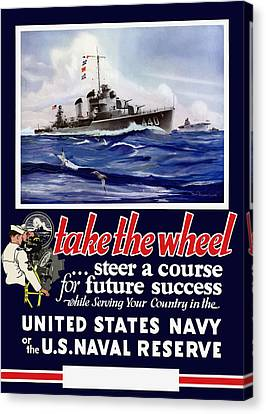 Join The Us Navy - Ww2 Canvas Print by War Is Hell Store