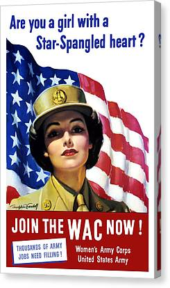 Join The Wac Now - World War Two Canvas Print