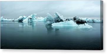 Canvas Print featuring the photograph Jokulsarlon Glacier Lagoon Panorama by Brad Scott
