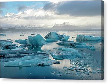 Canvas Print featuring the photograph Jokulsarlon, The Glacier Lagoon, Iceland 6 by Dubi Roman