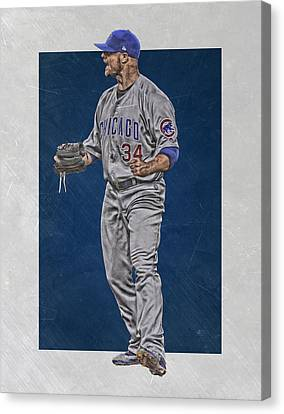 Jon Lester Chicago Cubs Art Canvas Print by Joe Hamilton
