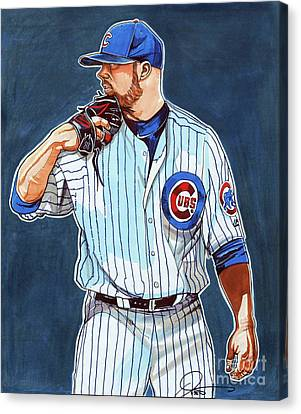 Jon Lester Chicago Cubs Canvas Print by Dave Olsen
