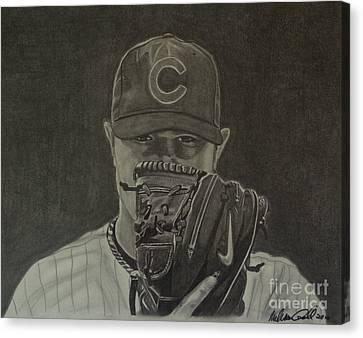 Jon Lester Portrait Canvas Print by Melissa Goodrich