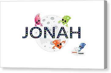Jonah And The Moon Toons Canvas Print by Moon Toons