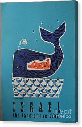 Jonah And The Whale Israel Travel Poster 1954 Canvas Print by MotionAge Designs
