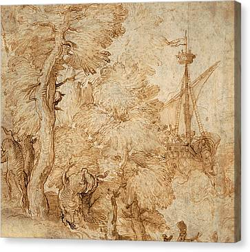 Jonah And The Whale Seen From A Landscape With Trees Canvas Print