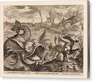 Jonah Cast On Shore By The Fish  Canvas Print