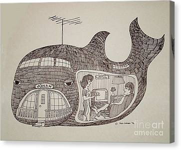 Jonah In His Whale Home. Canvas Print