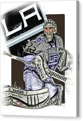 Jonathan Quick Los Angeles Kings Oil Art Canvas Print by Joe Hamilton