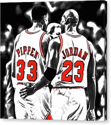 Pippen Canvas Print - Jordan And Pippen 23c by Brian Reaves