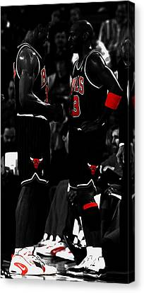 Jordan And Pippen Canvas Print by Brian Reaves