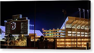 Tron Canvas Print - Jordan Hare Jumbotron Lights The Night by JC Findley