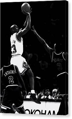 Ewing Canvas Print - Jordan Over John Starks by Brian Reaves