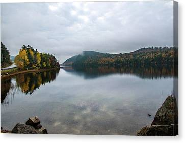 Rocky Maine Coast Canvas Print - Jordan Pond Reflected by Terry Davis