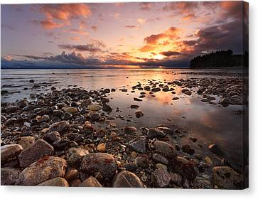 Vancouver Island Canvas Print - Jordan River Beach Sunset by Alan W