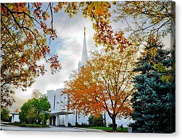 Jordan River Temple Canvas Print by La Rae  Roberts