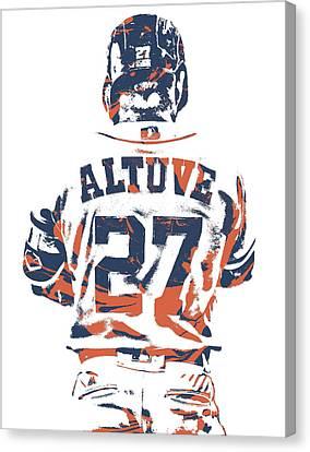 Baseball Stadiums Canvas Print - Jose Altuve Houston Astros Pixel Art 10 by Joe Hamilton