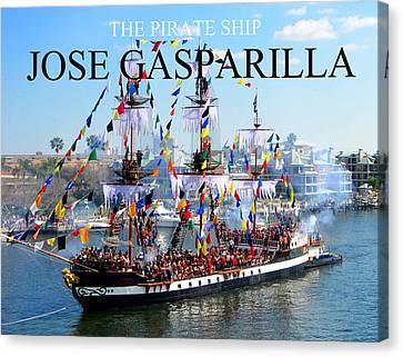 Jose Gasparilla Pirate Ship Fc Work Canvas Print by David Lee Thompson