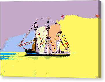 Canvas Print featuring the painting Jose Gasparilla Sailing Colorful Tampa Bay by David Lee Thompson
