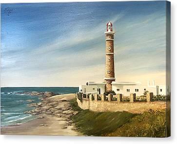 Jose Ignacio Lighthouse Evening Canvas Print by Natalia Tejera