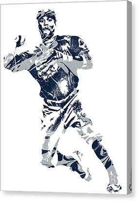 Cleveland Indians Canvas Print - Jose Ramirez Cleveland Indians Pixel Art 1 by Joe Hamilton