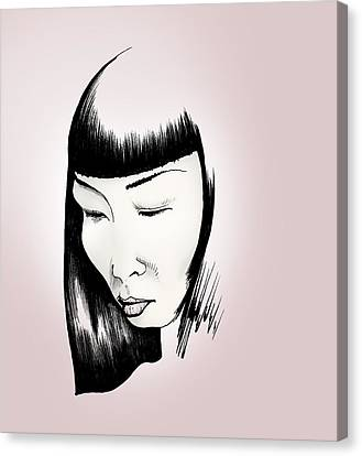 Canvas Print featuring the drawing Josei by Keith A Link