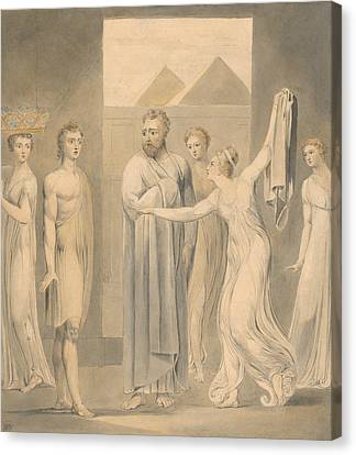 Joseph And Potiphar's Wife Canvas Print by William Blake