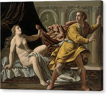 Joseph And Potiphar's Wife Canvas Print by Workshop of Marco Antonio Bassetti