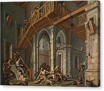 Canvas Print featuring the painting Joseph Interprets The Dreams Of The Pharaoh's Servants Whilts In Jail by Alessandro Magnasco