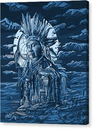 Mystical Landscape Canvas Print - Joseph Nez Perce Decorative Portrait by Bekim Art