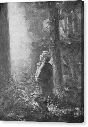 Joseph Smith Praying In The Grove Canvas Print by Lewis A Ramsey