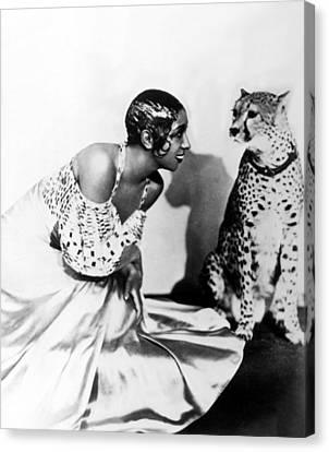 Josephine Baker And Her Cheetah Canvas Print