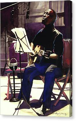 Josh White Singing The Blues Canvas Print by David Lloyd Glover