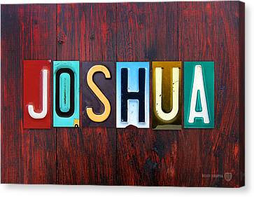 Joshua License Plate Lettering Name Sign Art Canvas Print