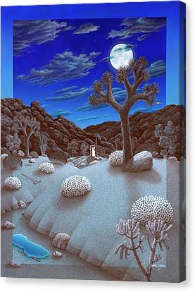 Joshua Tree At Night Canvas Print by Snake Jagger