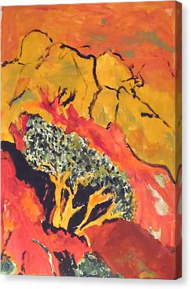 Canvas Print featuring the painting Joshua Trees In The Negev by Esther Newman-Cohen