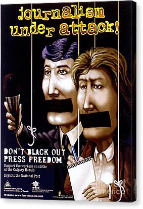 Censorship Canvas Print - Journalism Under Attack by Armand Roy