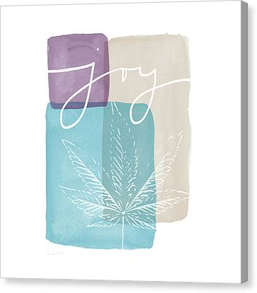 Canvas Print featuring the mixed media Joy Cannabis Leaf Watercolor- Art By Linda Woods by Linda Woods