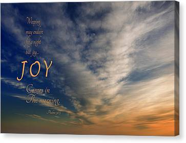 Joy Comes In The Morning Canvas Print by Mary Jo Allen