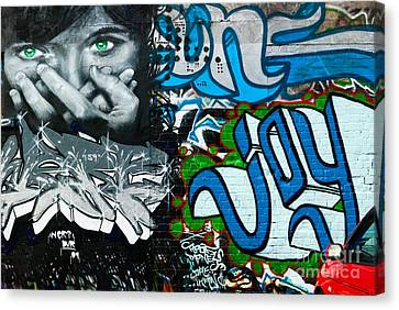 Canvas Print featuring the painting Joy Graffiti Wall  by Yurix Sardinelly